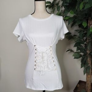 NEW! Love J White Corset Front Top
